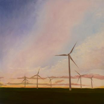 Windmills, mixed media on canvas, 48